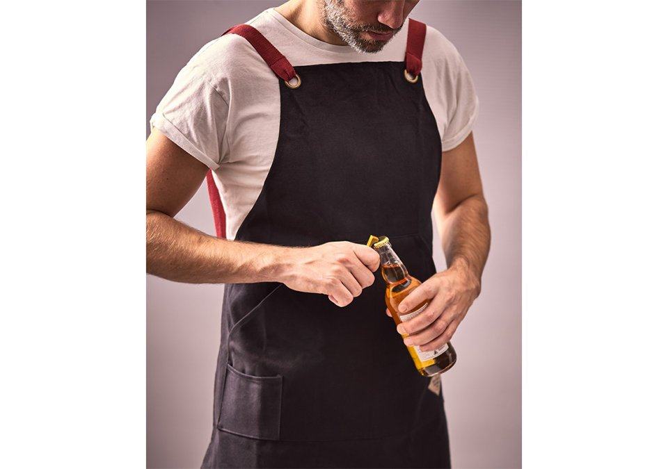 Apron with bottle opener